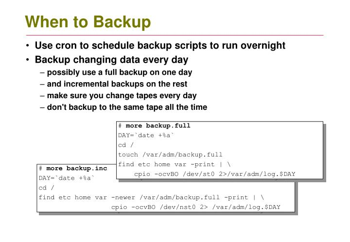 When to Backup