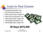 costs for real disaster