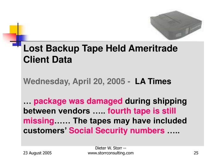Lost Backup Tape Held Ameritrade Client Data