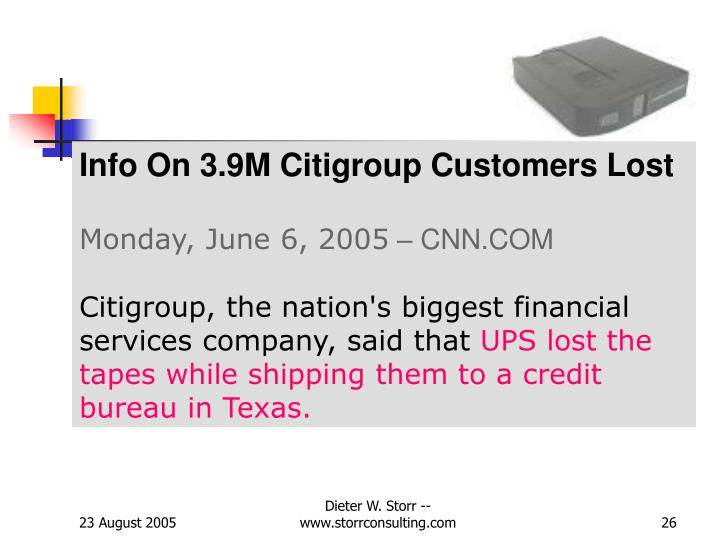 Info On 3.9M Citigroup Customers Lost