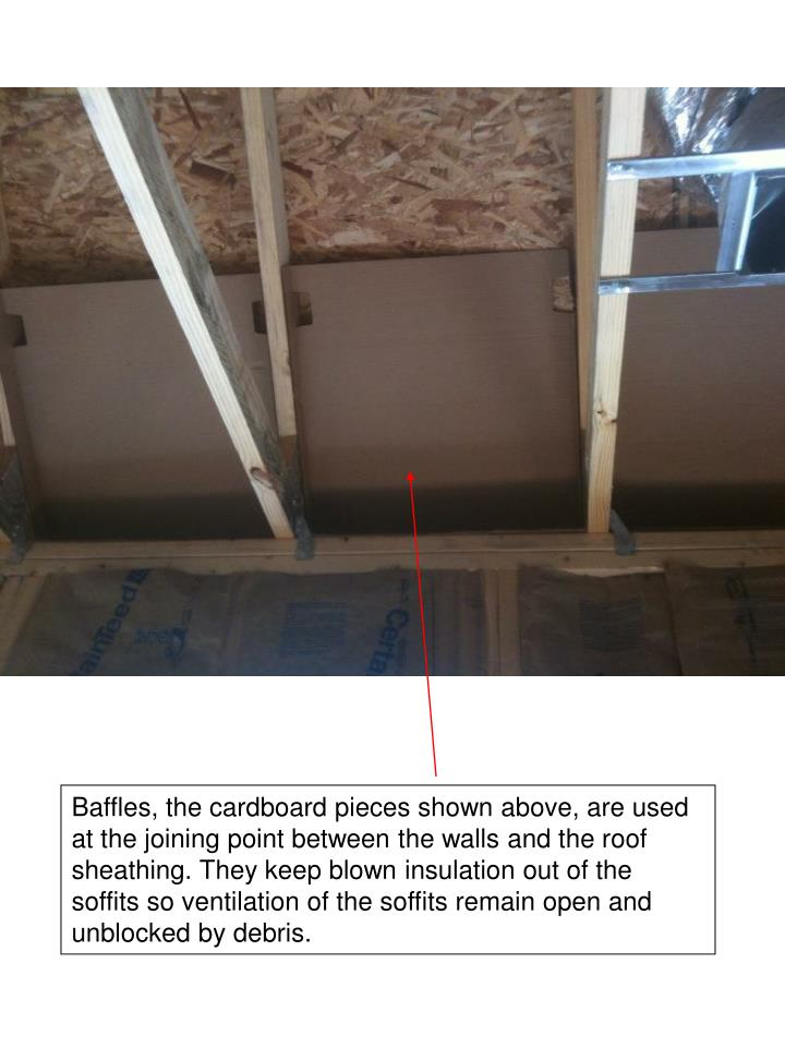 Baffles, the cardboard pieces shown above, are used at the joining point between the walls and the roof sheathing. They keep blown insulation out of the soffits so ventilation of the soffits remain open and unblocked by debris.