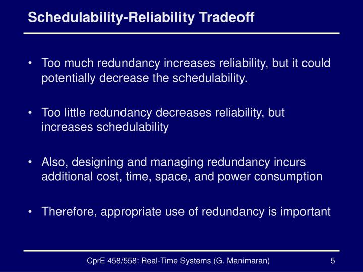 Schedulability-Reliability Tradeoff