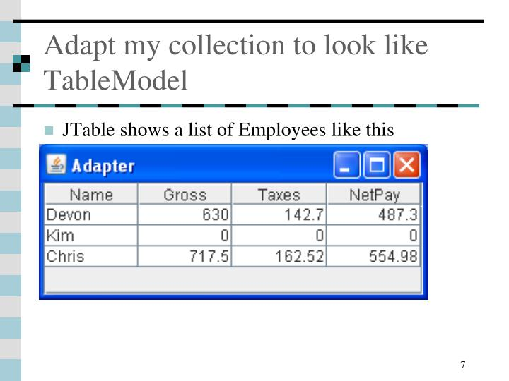 Adapt my collection to look like TableModel