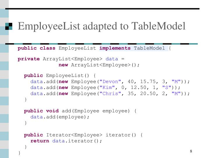 EmployeeList adapted to TableModel