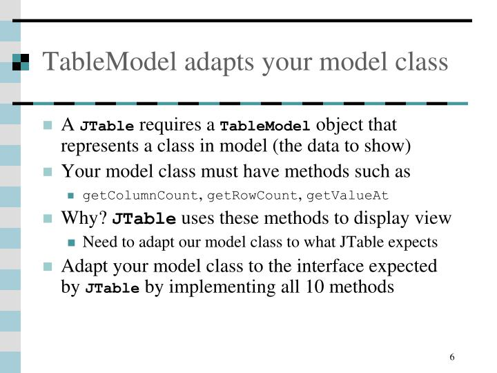 TableModel adapts your model class