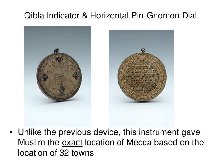 Qibla Indicator & Horizontal Pin-Gnomon Dial