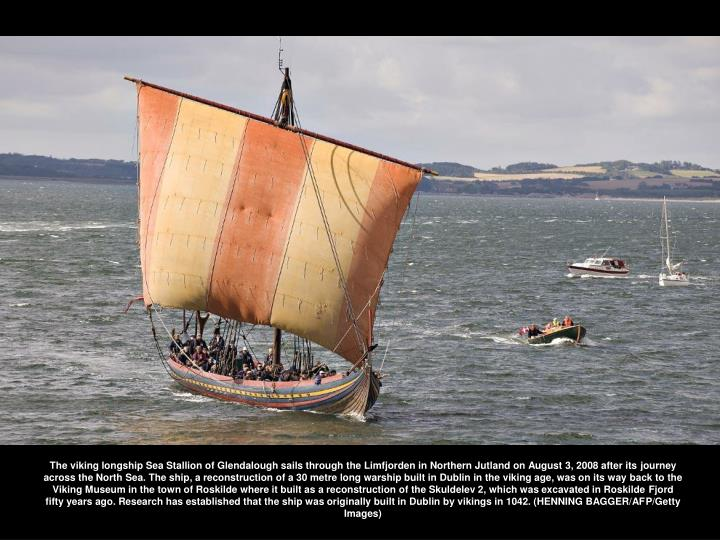 The viking longship Sea Stallion of Glendalough sails through the Limfjorden in Northern Jutland on August 3, 2008 after its journey across the North Sea. The ship, a reconstruction of a 30 metre long warship built in Dublin in the viking age, was on its way back to the Viking Museum in the town of Roskilde where it built as a reconstruction of the Skuldelev 2, which was excavated in Roskilde Fjord fifty years ago. Research has established that the ship was originally built in Dublin by vikings in 1042. (HENNING BAGGER/AFP/Getty Images)