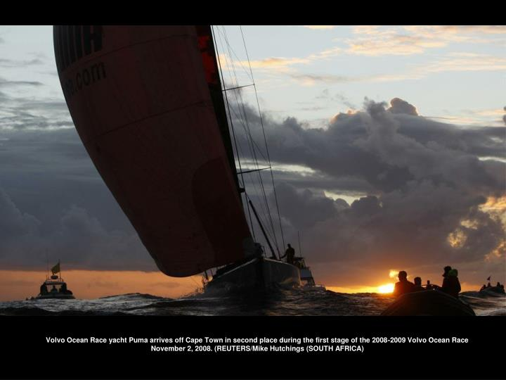 Volvo Ocean Race yacht Puma arrives off Cape Town in second place during the first stage of the 2008-2009 Volvo Ocean Race November 2, 2008. (REUTERS/Mike Hutchings (SOUTH AFRICA)