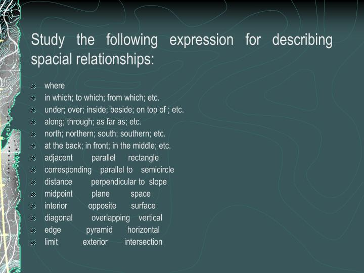 Study the following expression for describing spacial relationships: