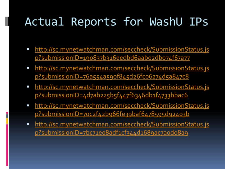 Actual Reports for