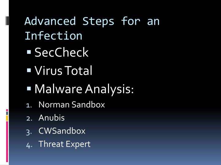 Advanced Steps for an Infection
