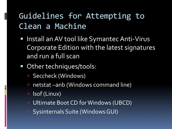 Guidelines for Attempting to Clean a Machine