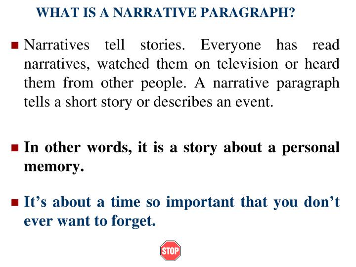 What is a narrative paragraph