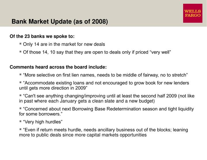 Bank Market Update (as of 2008)