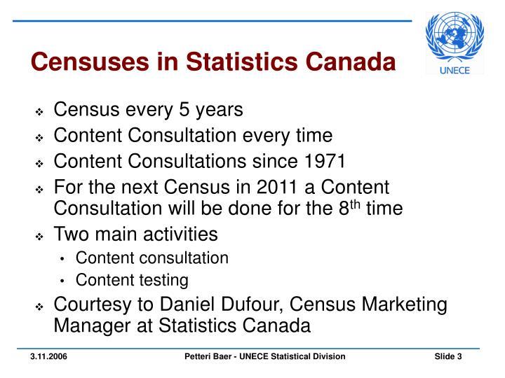 Censuses in Statistics Canada