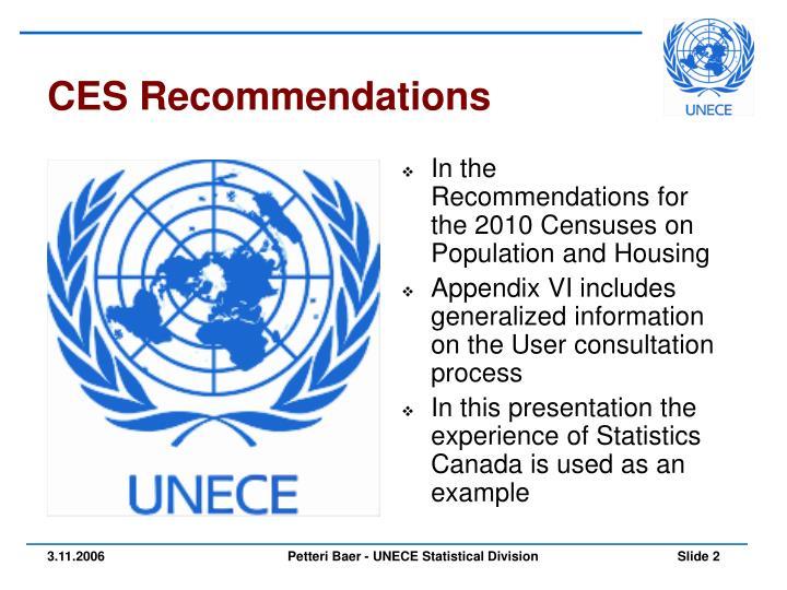 CES Recommendations