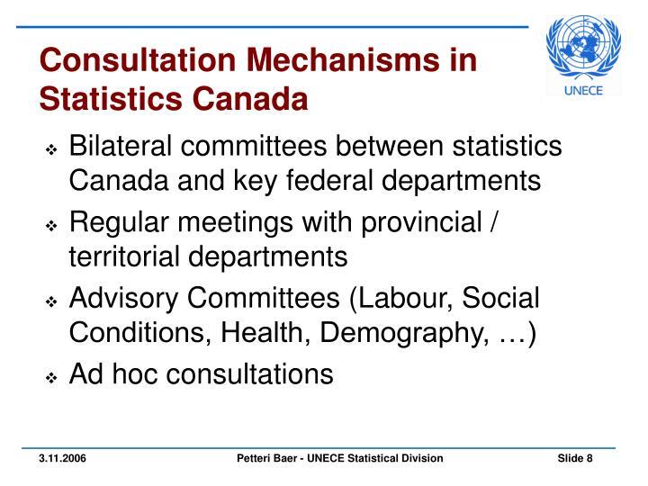 Consultation Mechanisms in Statistics Canada