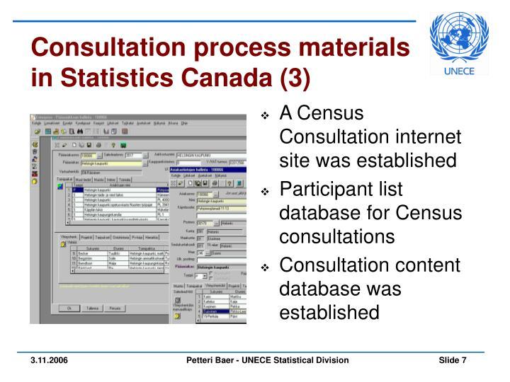 Consultation process materials in Statistics Canada (3)