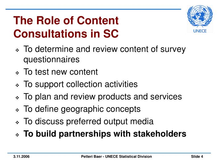 The Role of Content Consultations in SC