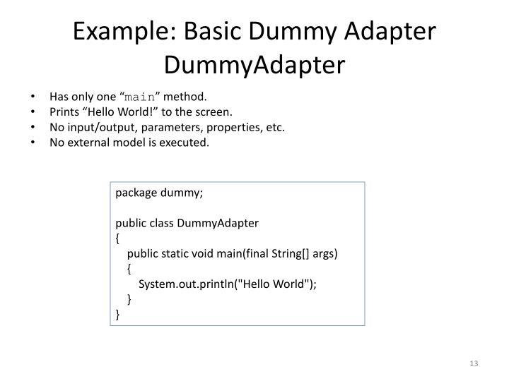 Example: Basic Dummy Adapter