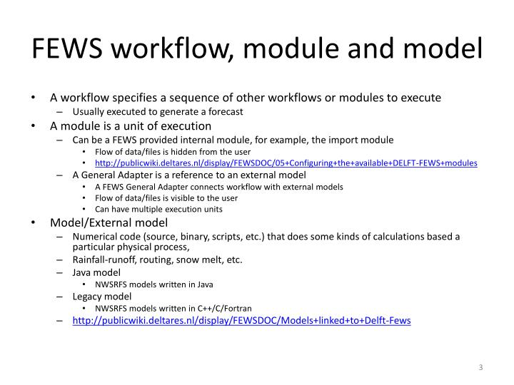 FEWS workflow, module and model