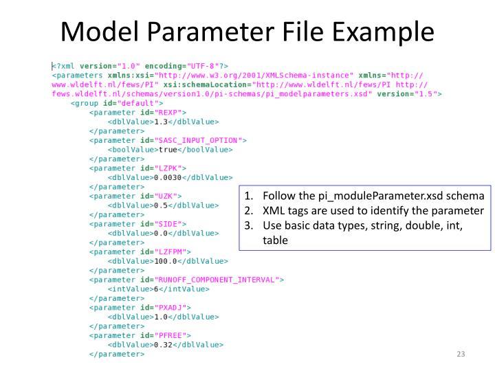 Model Parameter File Example