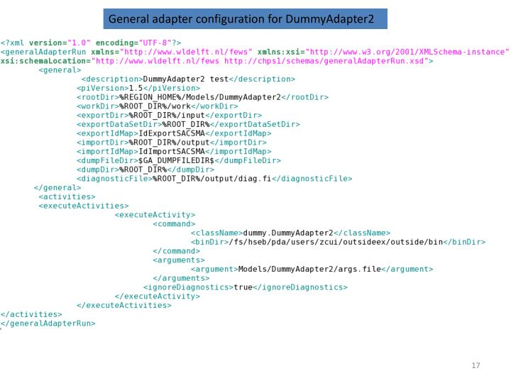 General adapter configuration for DummyAdapter2