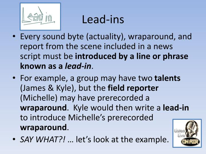 Lead-ins