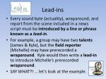 lead ins