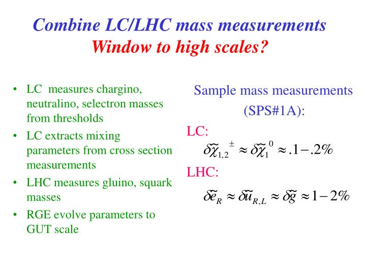 LC  measures chargino, neutralino, selectron masses from thresholds