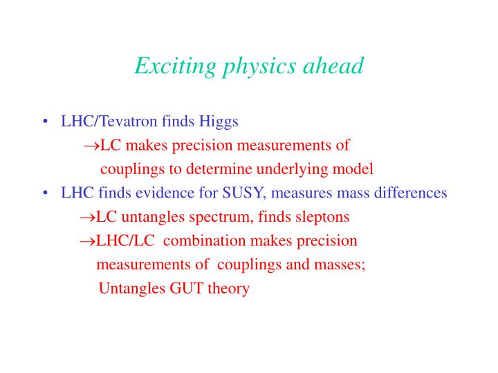 Exciting physics ahead