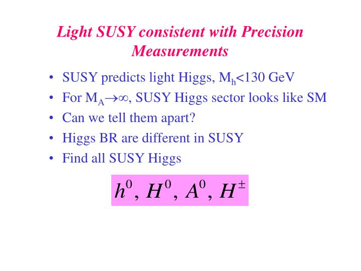 SUSY predicts light Higgs, M