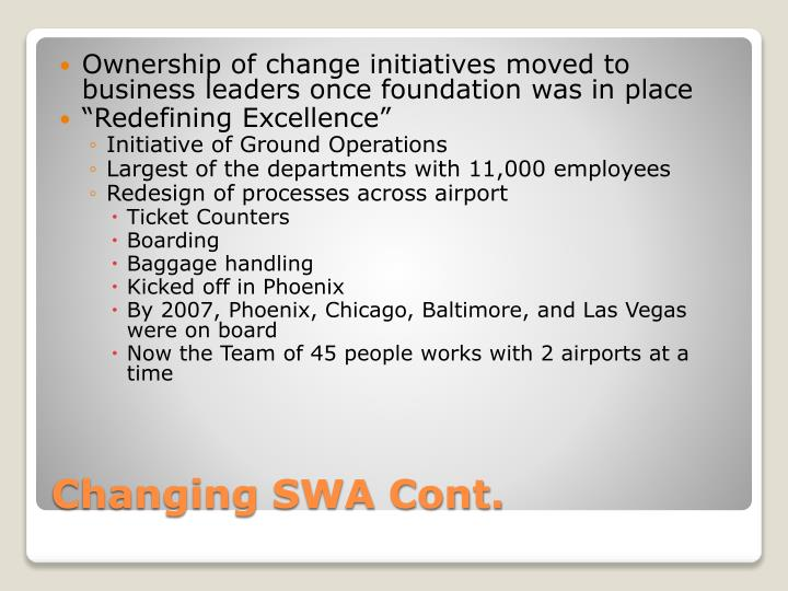 Ownership of change initiatives moved to business leaders once foundation was in place