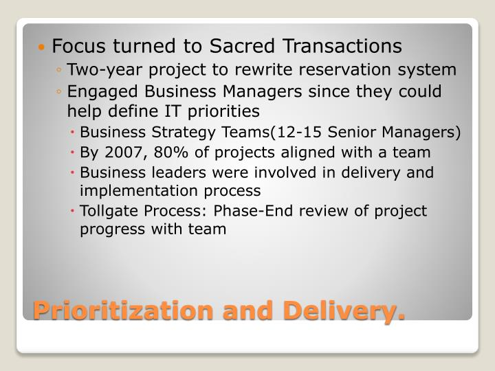 Focus turned to Sacred Transactions