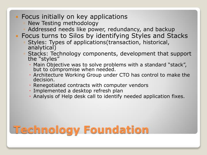 Focus initially on key applications