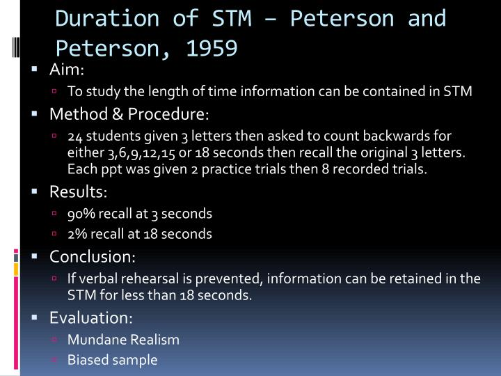 Duration of STM – Peterson and Peterson, 1959