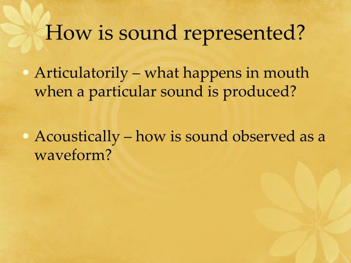 How is sound represented?