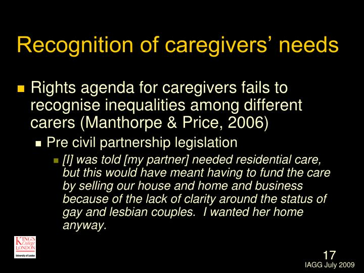 Recognition of caregivers' needs