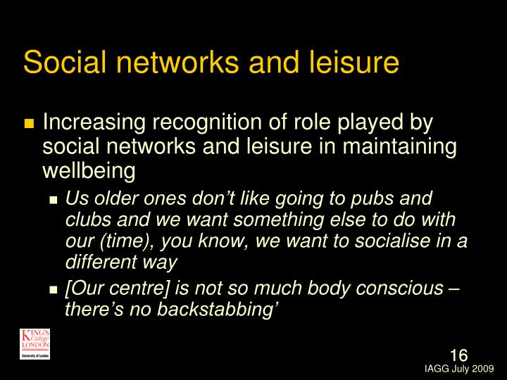 Social networks and leisure