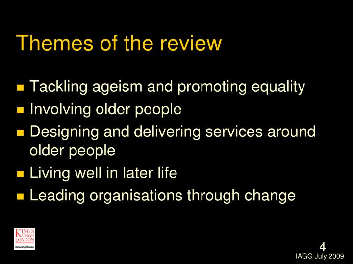 Themes of the review