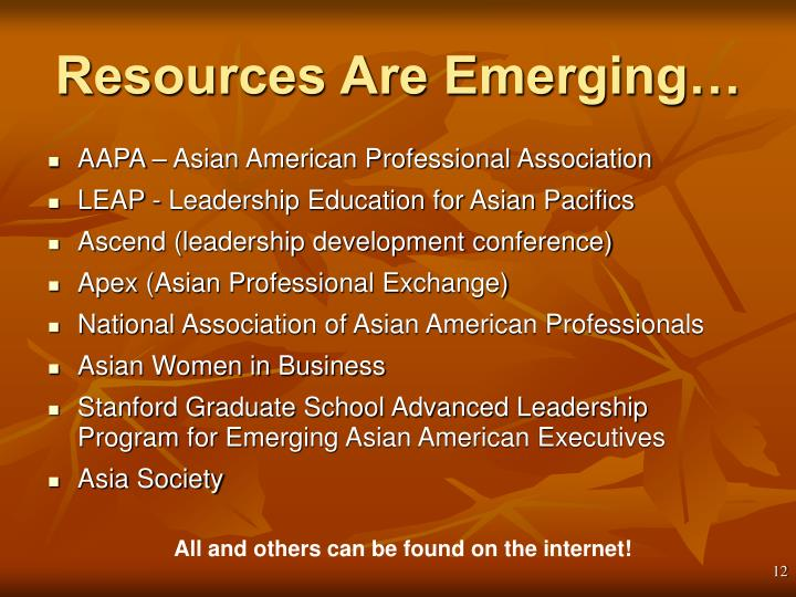 Resources Are Emerging…
