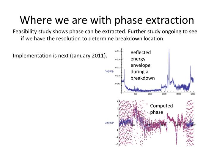 Where we are with phase extraction