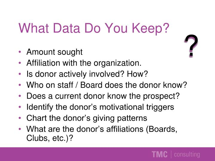 What Data Do You Keep?