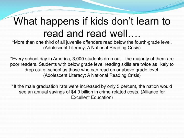 What happens if kids don't learn to read and read well….
