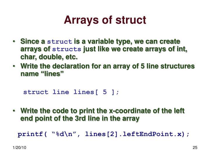 Arrays of struct