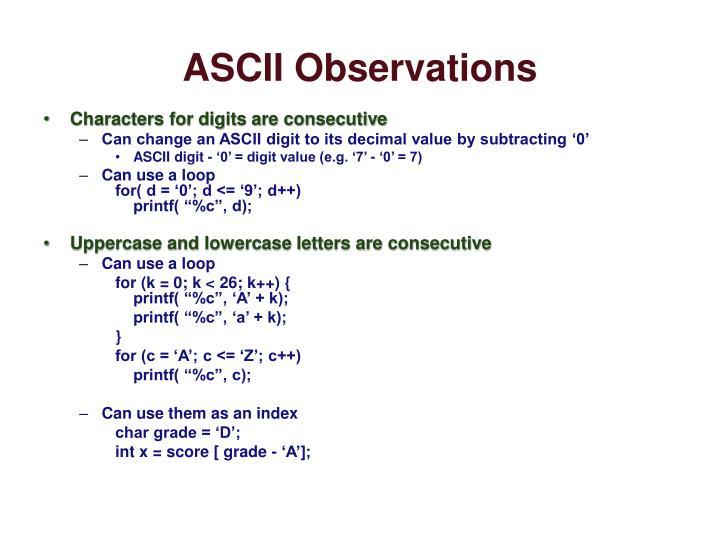 ASCII Observations