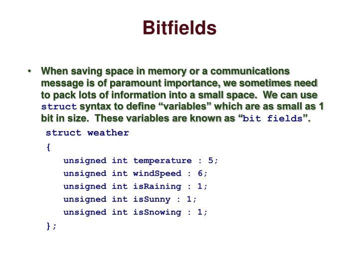 Bitfields