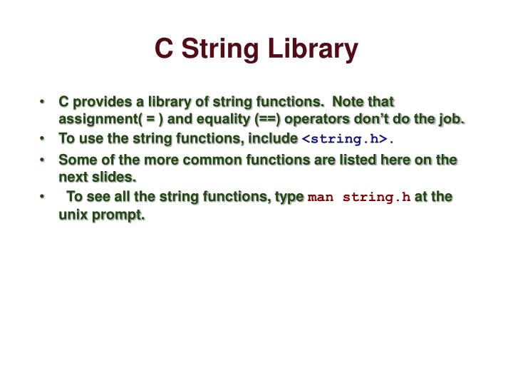 C String Library