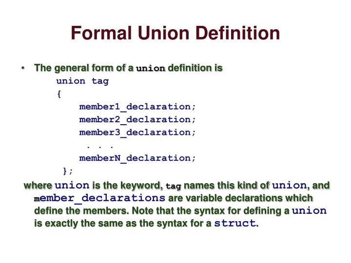 Formal Union Definition