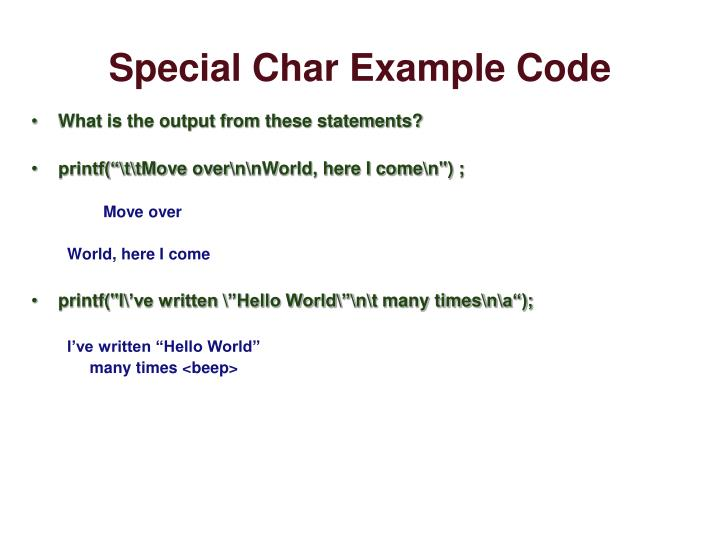Special Char Example Code